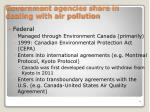 Government agencies share in dealing with air pollution