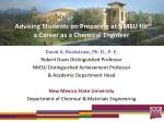 Advising Students on Preparing at NMSU for a Career as a Chemical Engineer