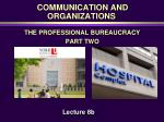 COMMUNICATION AND ORGANIZATIONS