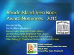 Rhode Island Teen Book Award Nominees - 2010