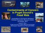 Contaminants of Concern in Puget Sound's Food Web