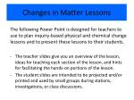 Changes in Matter Lessons