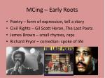 MCing  – Early Roots