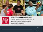 AACRAO SEM Conference: How to Use Social Communities to Build  Relationships and Transform  Your  Enrollment Experience