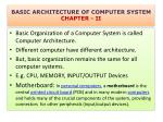 BASIC ARCHITECTURE OF COMPUTER SYSTEM CHAPTER - II