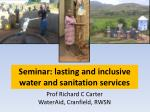 Seminar: lasting and inclusive water and sanitation services