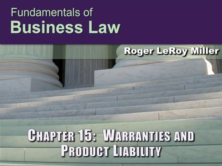 chapter 15 warranties and product liability n.