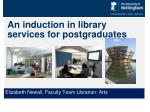 An induction in library services for postgraduates