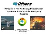Principles in Pre-Positioning Transportation Equipment & Materials for Emergency Response