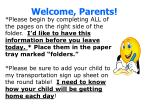 Welcome, Parents!