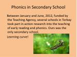 Phonics in Secondary School