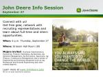 John Deere Info Session September 27