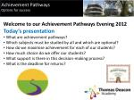 Welcome to our Achievement Pathways Evening 2012 Today's presentation  What are achievement pathways?