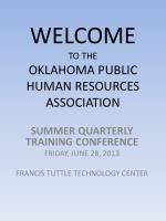 WELCOME TO THE OKLAHOMA PUBLIC HUMAN RESOURCES ASSOCIATION