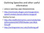 Outlining Speeches and other useful information