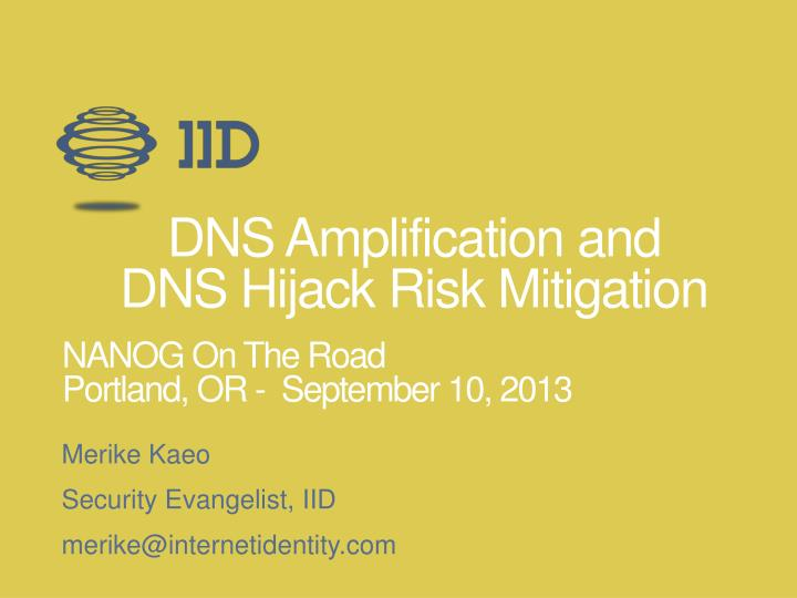 dns amplification and dns hijack risk mitigation n.