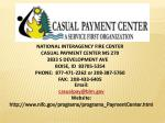 NATIONAL INTERAGENCY FIRE CENTER CASUAL PAYMENT CENTER MS 270 3833 S DEVELOPMENT AVE BOISE, ID  83705-5354 PHONE:  877-