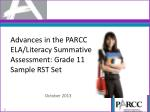 Advances in the PARCC ELA/Literacy Summative Assessment: Grade 11 Sample RST Set