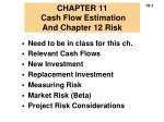 CHAPTER 11 Cash Flow Estimation And Chapter 12 Risk