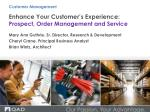 Enhance Your Customer's Experience: Prospect, Order Management and Service