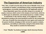 The Expansion of American Industry