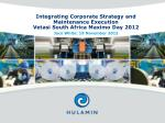 Integrating Corporate Strategy and Maintenance Execution Vetasi South Africa Maximo Day 2012