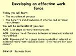 Developing an effective work force