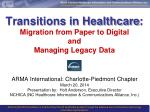 Transitions in Healthcare : Migration  from Paper to  Digital and Managing  Legacy Data