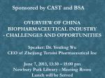 OVERVIEW OF CHINA BIOPHARMACEUTICAL INDUSTRY - CHALLENGES AND OPPORTUNITIES Speaker: Dr. Youling Wu CEO of Zhejian