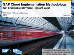 SAP  Cloud Implementation Methodology Get Efficient Deployment – Instant Value