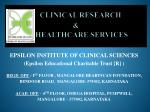 CLINICAL RESEARCH & HEALTHCARE SERVICES