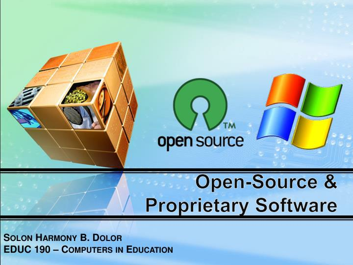 open source proprietary software n.