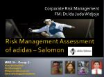Risk Management Assessment of  adidas  – Salomon