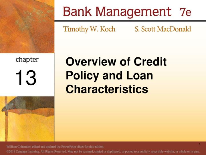 overview of credit policy and loan characteristics n.