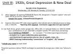 Unit III :  1920s, Great Depression & New Deal