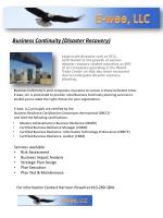 Business Continuity (Disaster Recovery)