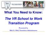 What You Need to Know: The VR School to Work Transition Program Presented by Kirk G. Hall, Transition Administrator