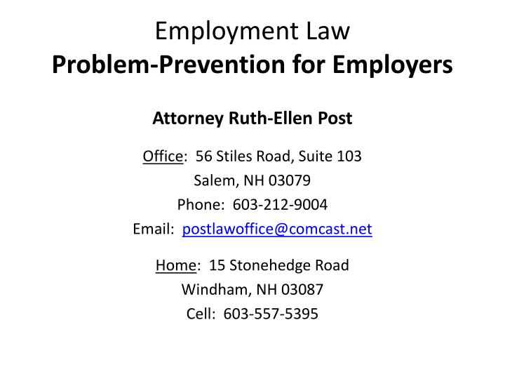 PPT - Employment Law Problem-Prevention for Employers