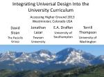 Integrating Universal Design Into the University Curriculum