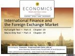 International Finance and the Foreign Exchange Market