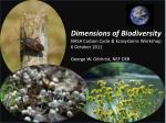 Dimensions of Biodiversity NASA Carbon Cycle & Ecosystems Workshop 6 October 2011 George W. Gilchrist, NSF DEB