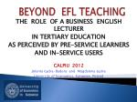 BEYOND  EFL TEACHING