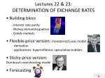 Lectures 22 & 23:   DETERMINATION OF EXCHANGE RATES