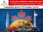 HYDUKE ENERGY SERVICES INC Canadian Companies Doing B usiness in Mexico Congress Mexicano del Petroleo , Cancun,