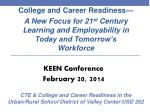 College and Career Readiness— A New Focus for 21 st Century Learning and Employability in Today and Tomorrow's Workforc