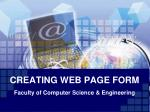CREATING WEB PAGE FORM