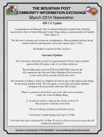 THE MOUNTAIN POST COMMUNITY INFORMATION EXCHANGE March 2014 Newsletter
