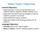 Today's Goals / Objectives