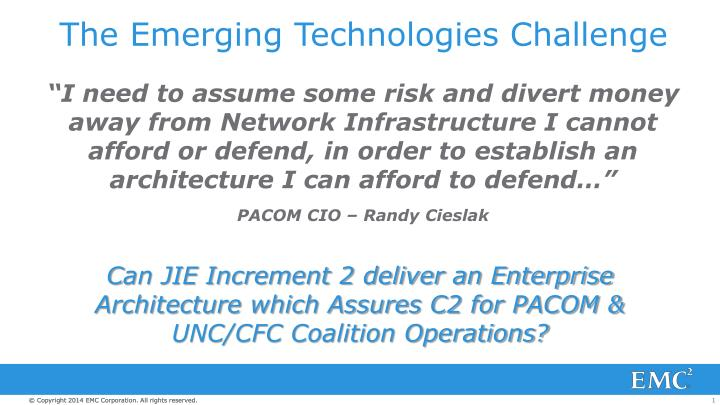 the emerging technologies challenge n.