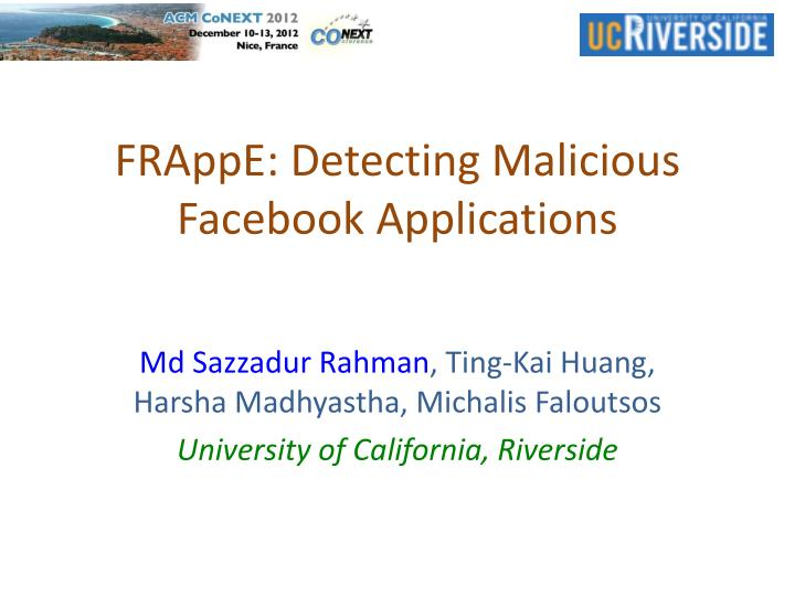 frappe detecting malicious facebook applications n.